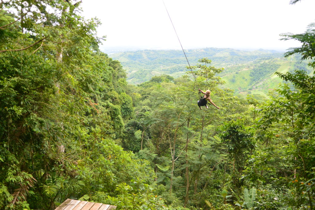 "Rochelle on the ""Tarzan Swing"" at a nearby Zip Line Tour"